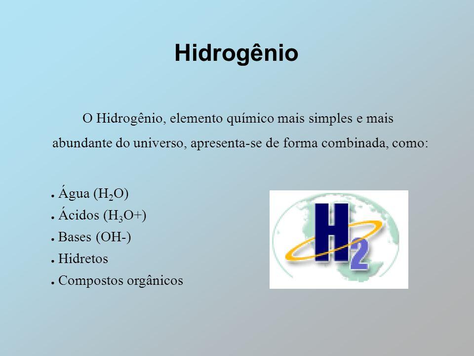 Hidrogênio O Hidrogênio, elemento químico mais simples e mais