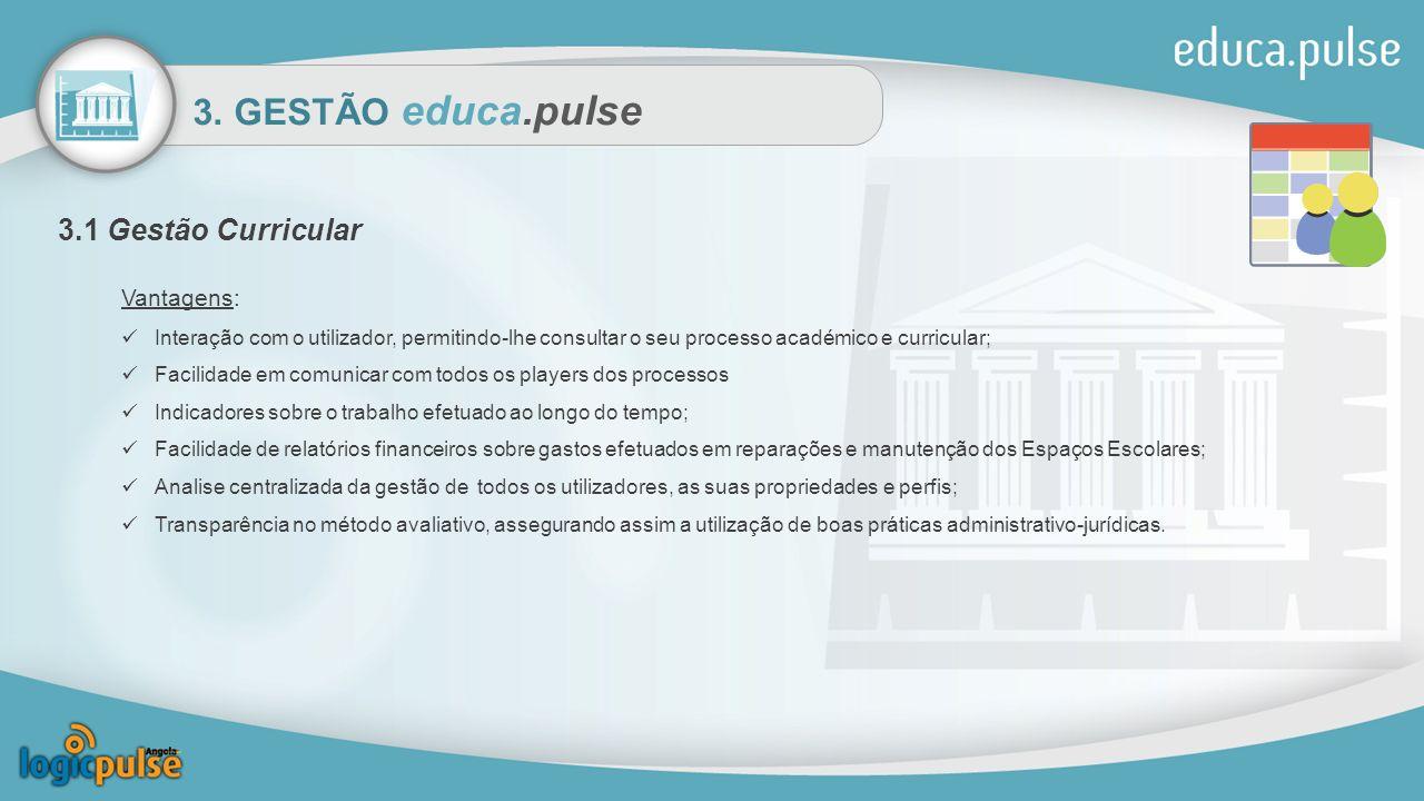 3. GESTÃO educa.pulse 3.1 Gestão Curricular Vantagens: