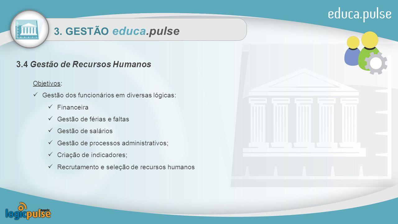 3. GESTÃO educa.pulse 3.4 Gestão de Recursos Humanos Objetivos: