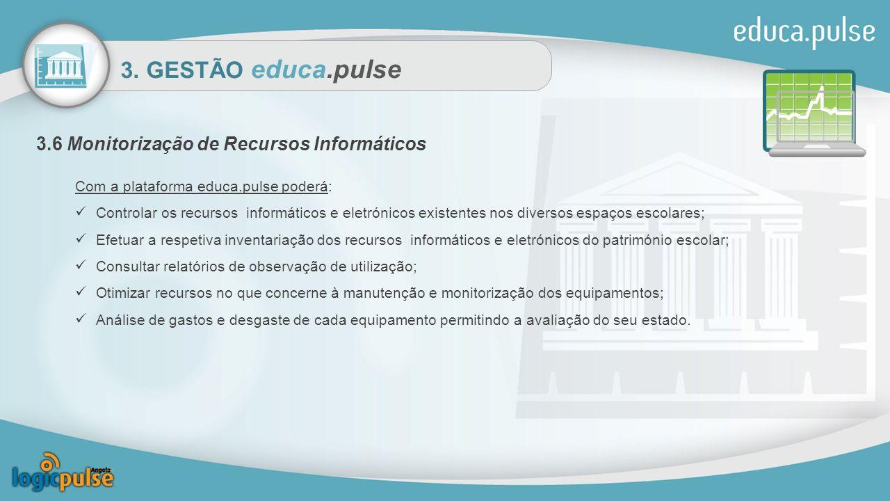 3. GESTÃO educa.pulse 3.6 Monitorização de Recursos Informáticos