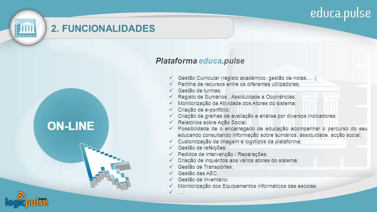 ON-LINE ON-LINE 2. FUNCIONALIDADES Plataforma educa.pulse