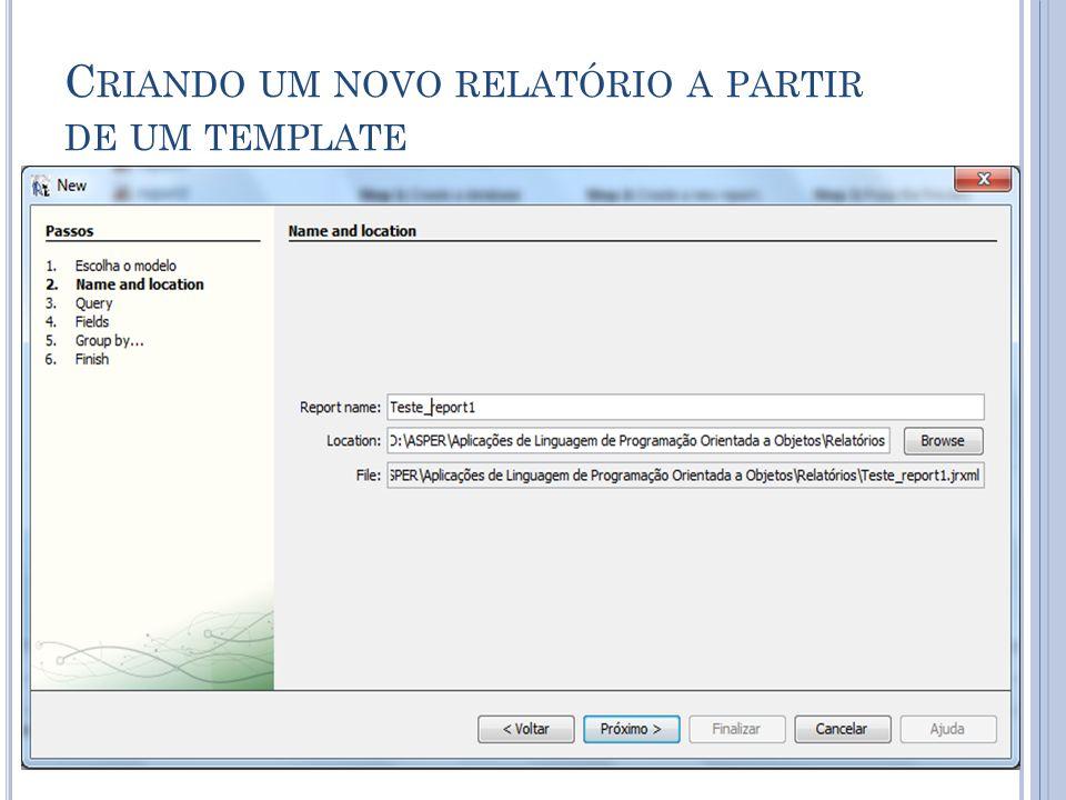 Criando um novo relatório a partir de um template