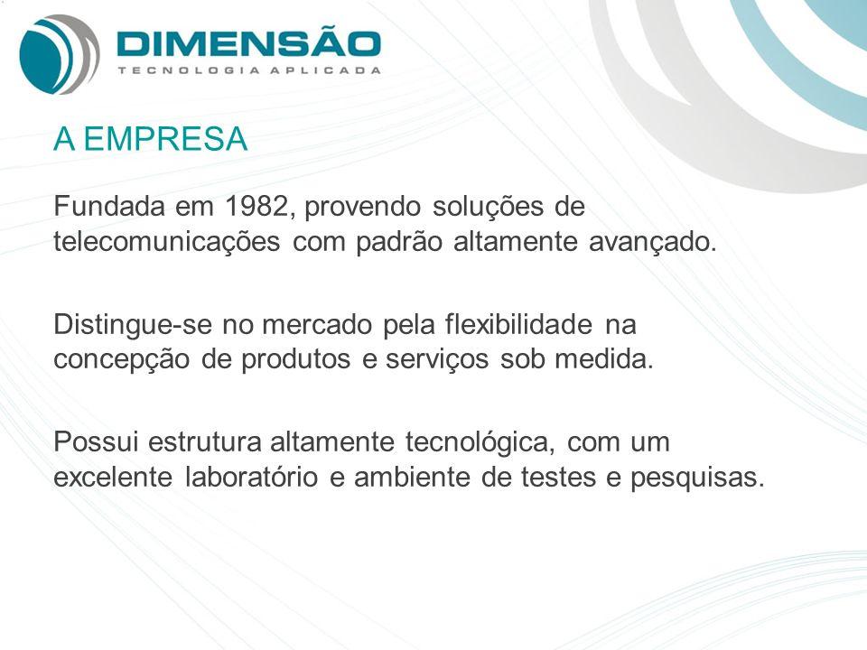 A EMPRESA Fundada em 1982, provendo soluções de telecomunicações com padrão altamente avançado.