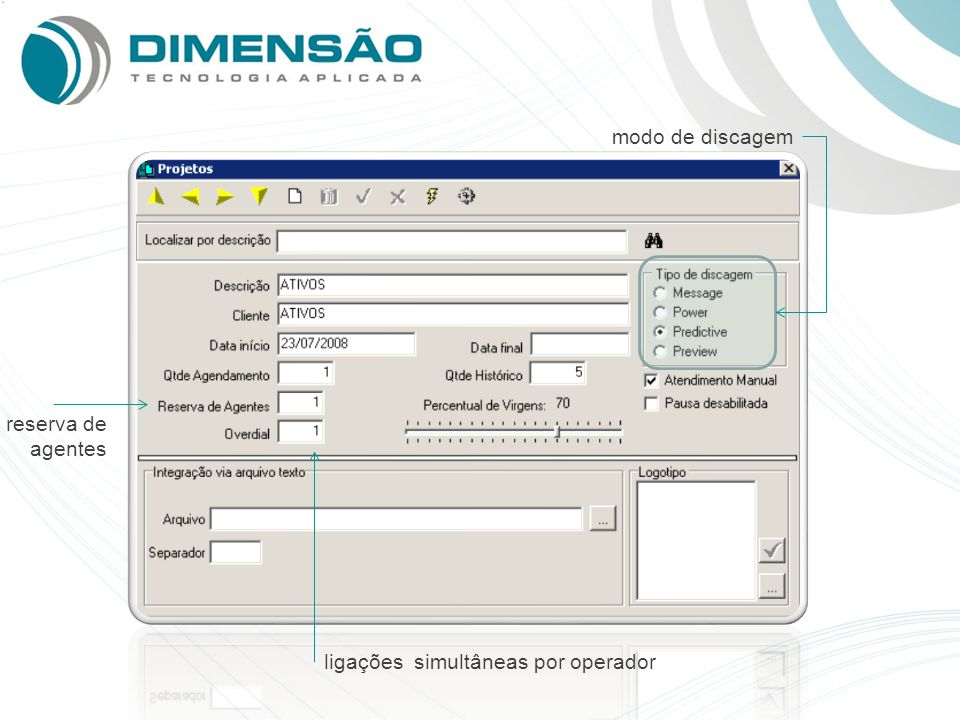 modo de discagem reserva de agentes ligações simultâneas por operador