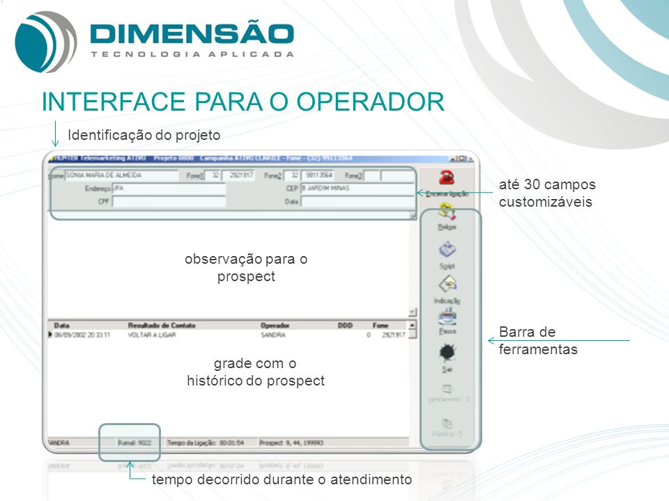 INTERFACE PARA O OPERADOR
