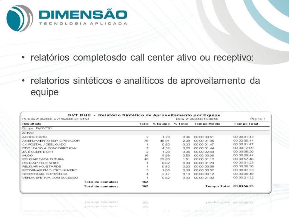 relatórios completosdo call center ativo ou receptivo: