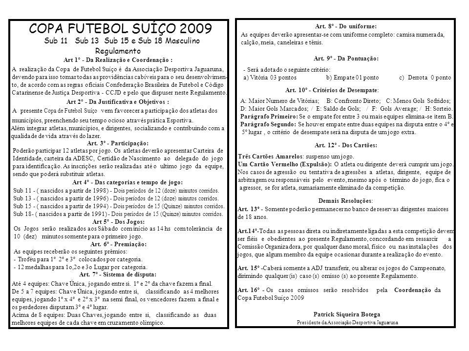 COPA FUTEBOL SUÍÇO 2009 Regulamento