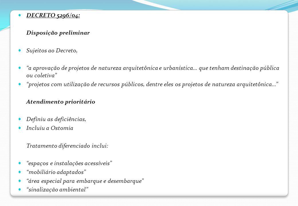 DECRETO 5296/04: Disposição preliminar. Sujeitos ao Decreto,