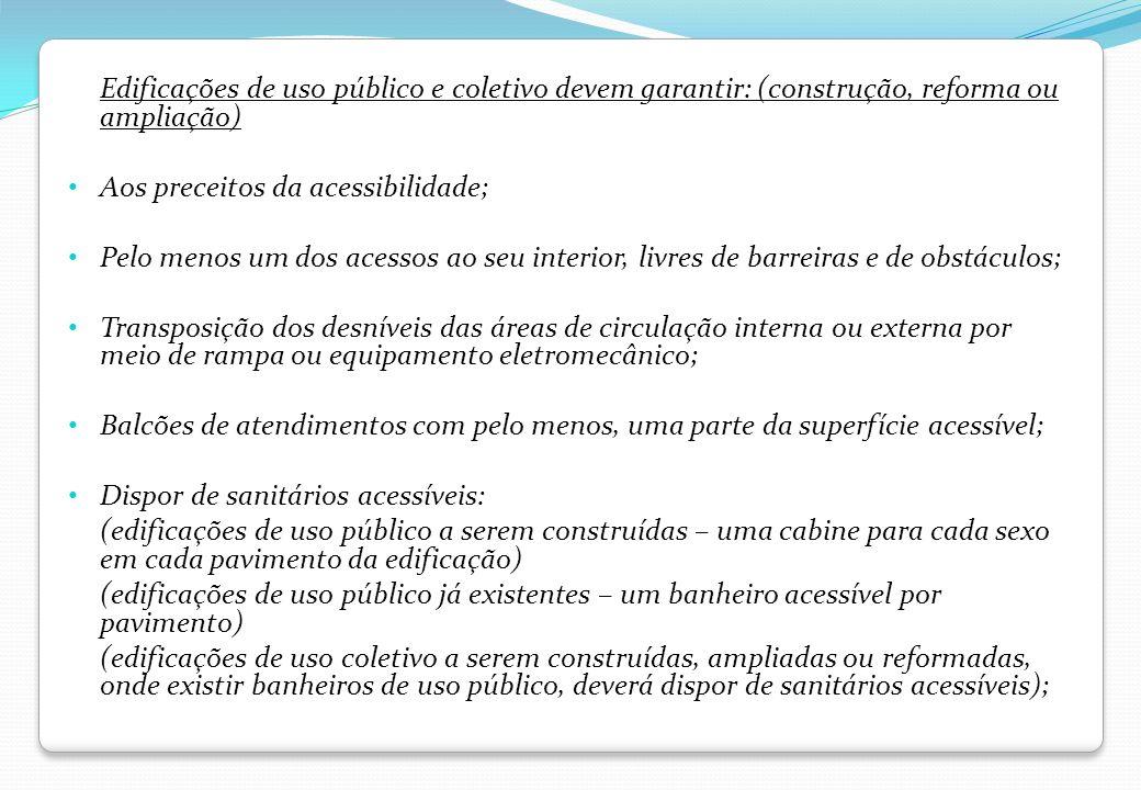 Edificações de uso público e coletivo devem garantir: (construção, reforma ou ampliação)