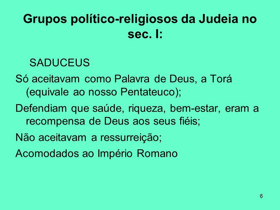 Grupos político-religiosos da Judeia no sec. I: