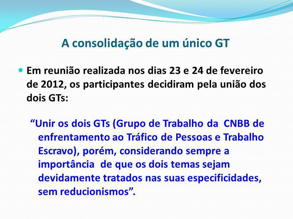 A consolidação de um único GT