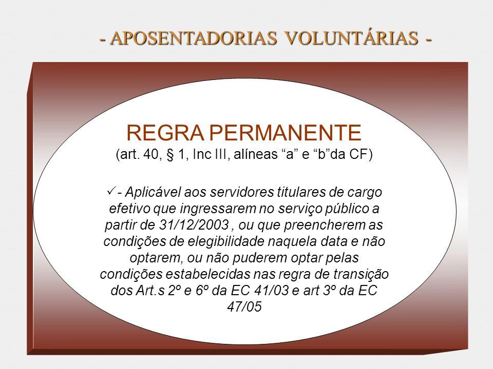 REGRA PERMANENTE - APOSENTADORIAS VOLUNTÁRIAS -