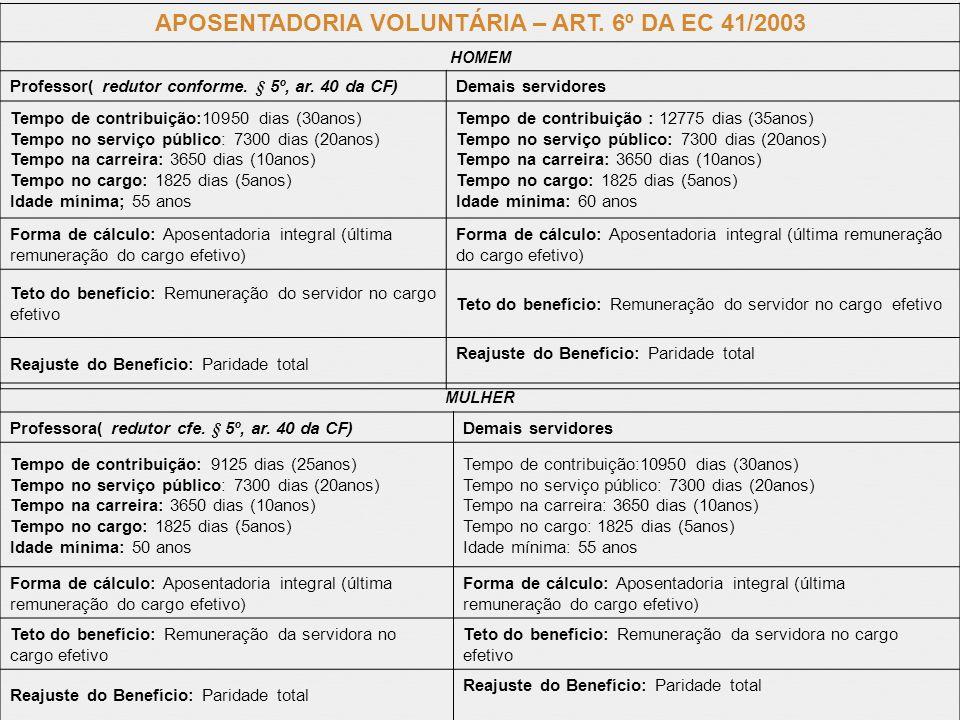 APOSENTADORIA VOLUNTÁRIA – ART. 6º DA EC 41/2003