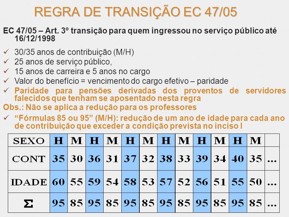 REGRA DE TRANSIÇÃO EC 47/05 EC 47/05 – Art. 3º transição para quem ingressou no serviço público até 16/12/1998.