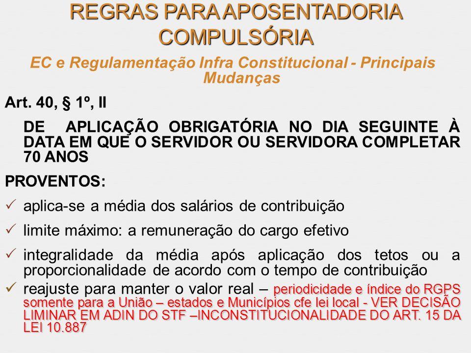 REGRAS PARA APOSENTADORIA COMPULSÓRIA