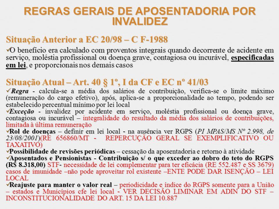 REGRAS GERAIS DE APOSENTADORIA POR INVALIDEZ