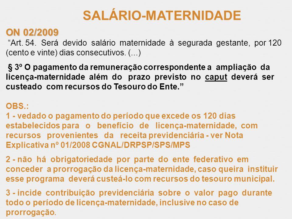 SALÁRIO-MATERNIDADE ON 02/2009