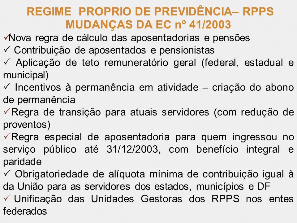 REGIME PROPRIO DE PREVIDÊNCIA– RPPS
