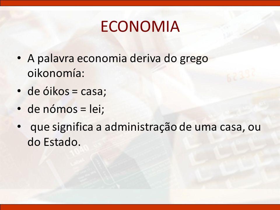 ECONOMIA A palavra economia deriva do grego oikonomía: