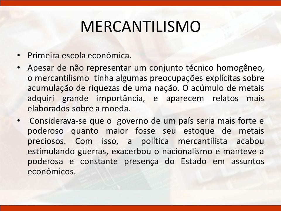 MERCANTILISMO Primeira escola econômica.