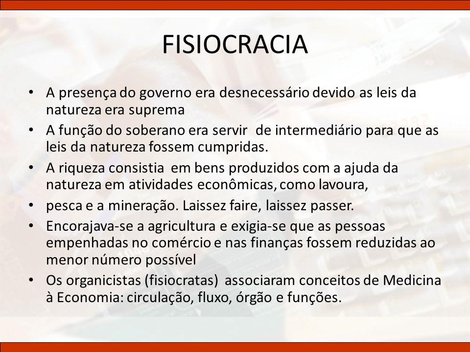 FISIOCRACIA A presença do governo era desnecessário devido as leis da natureza era suprema.