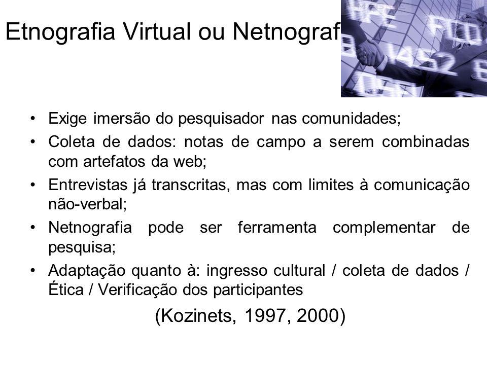Etnografia Virtual ou Netnografia