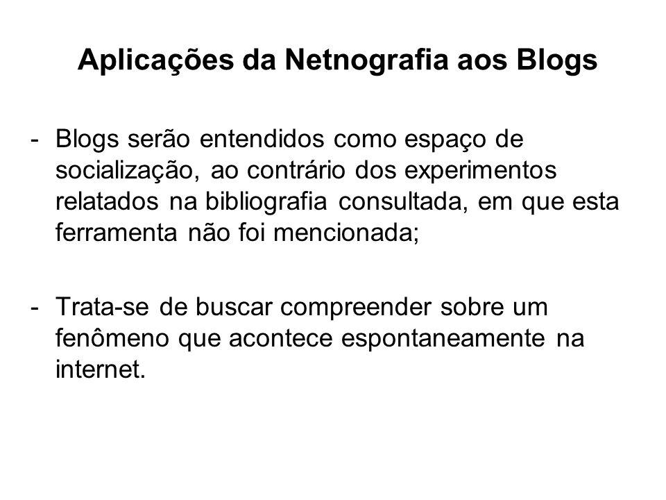 Aplicações da Netnografia aos Blogs