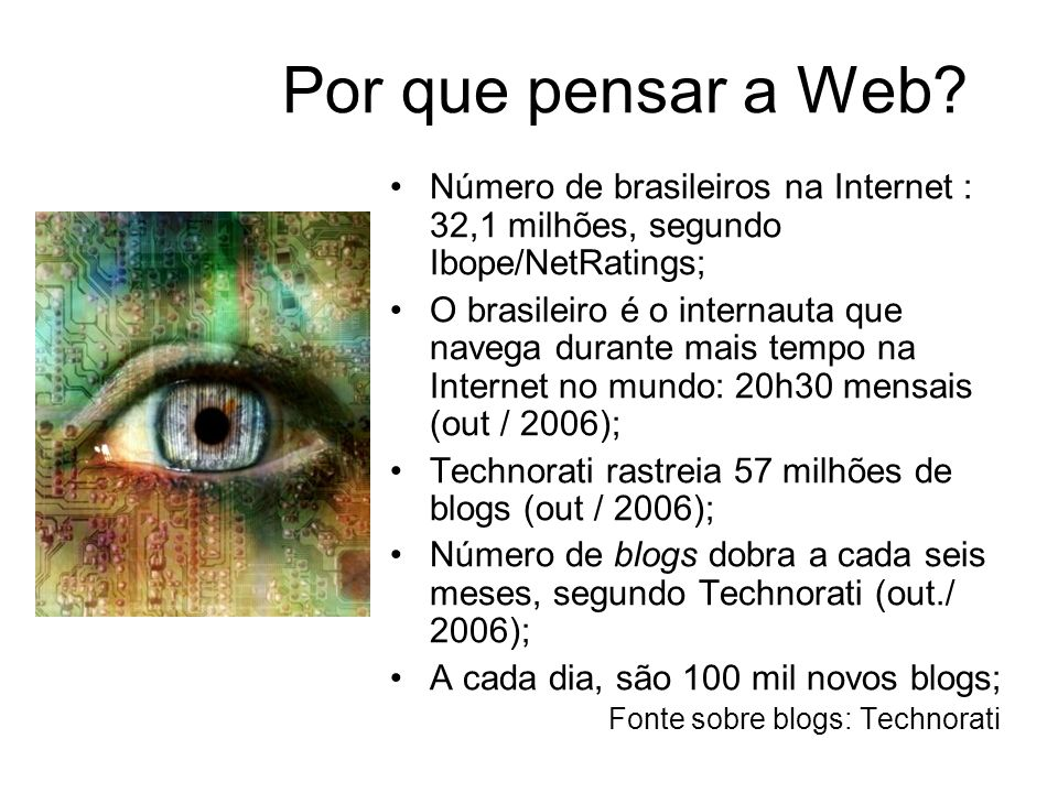Por que pensar a Web Número de brasileiros na Internet : 32,1 milhões, segundo Ibope/NetRatings;