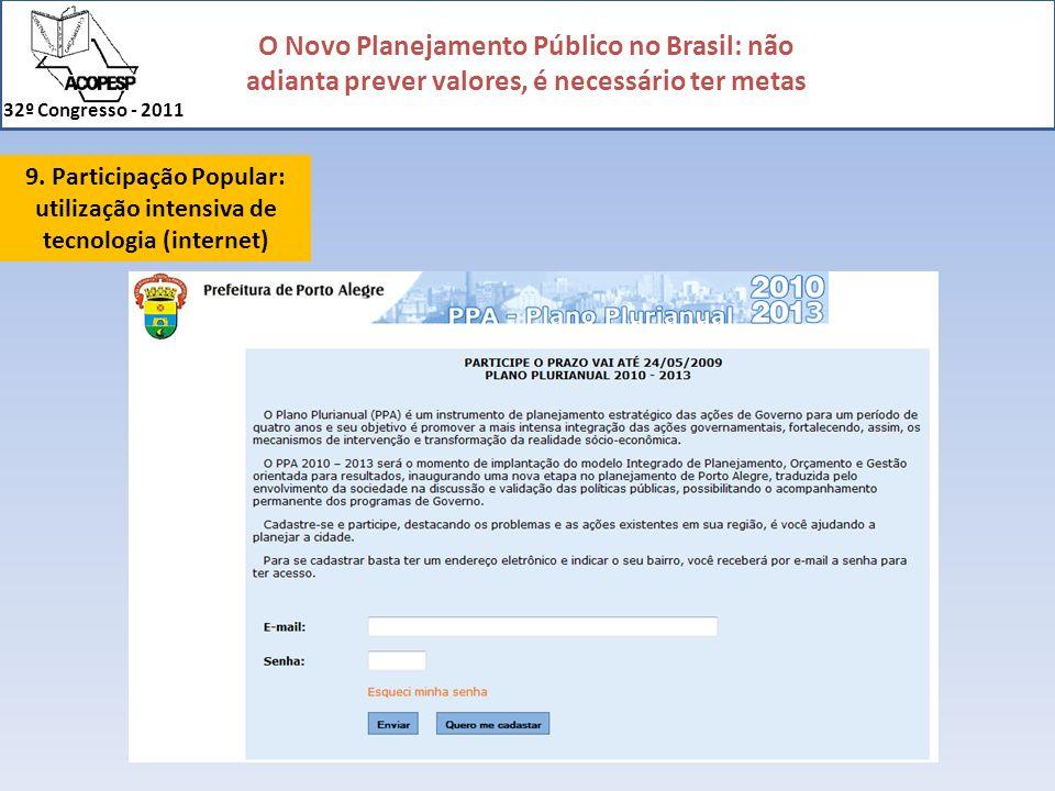 9. Participação Popular: utilização intensiva de tecnologia (internet)