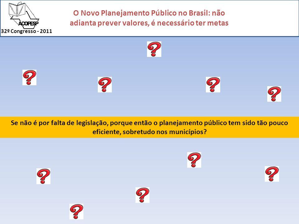 Se não é por falta de legislação, porque então o planejamento público tem sido tão pouco eficiente, sobretudo nos municípios