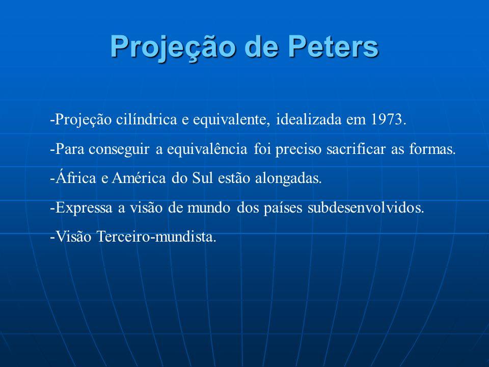 Projeção de Peters -Projeção cilíndrica e equivalente, idealizada em 1973. Para conseguir a equivalência foi preciso sacrificar as formas.