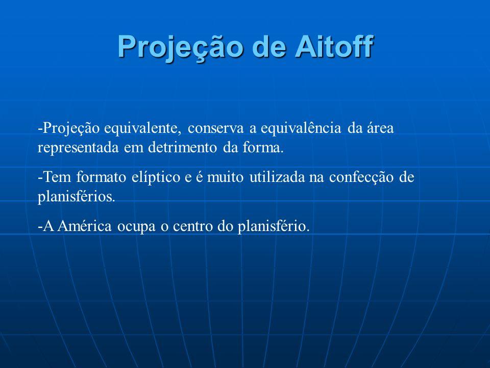 Projeção de Aitoff -Projeção equivalente, conserva a equivalência da área representada em detrimento da forma.