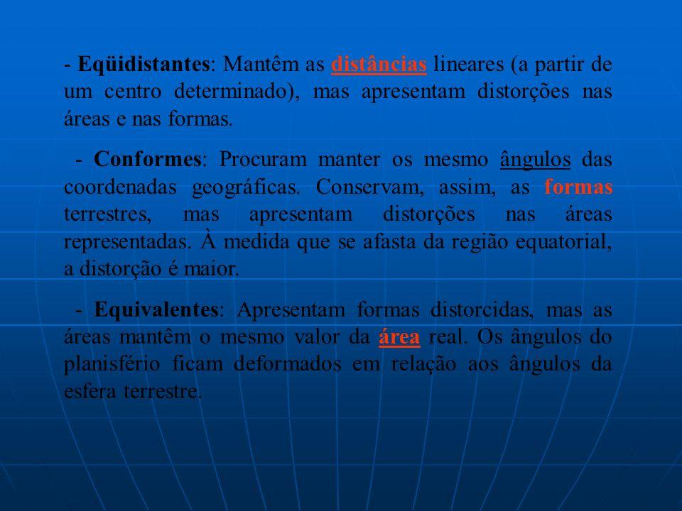 - Eqüidistantes: Mantêm as distâncias lineares (a partir de um centro determinado), mas apresentam distorções nas áreas e nas formas.