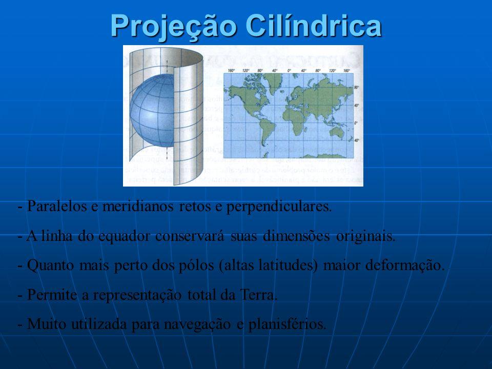 Projeção Cilíndrica - Paralelos e meridianos retos e perpendiculares.