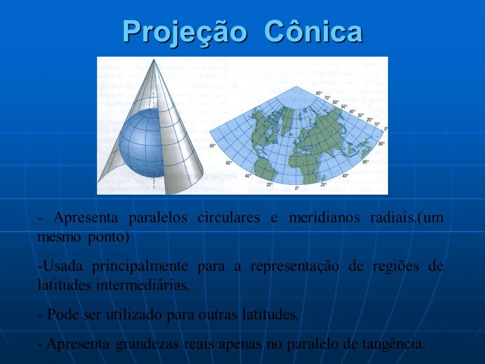 Projeção Cônica - Apresenta paralelos circulares e meridianos radiais.(um mesmo ponto)
