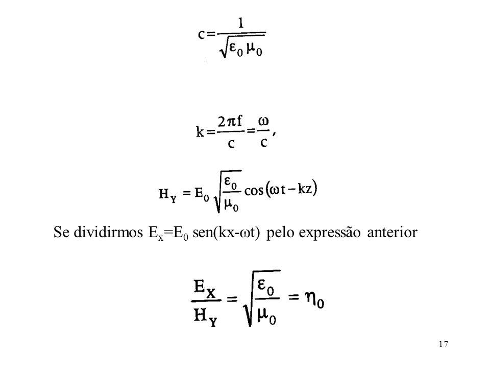 Se dividirmos Ex=E0 sen(kx-t) pelo expressão anterior
