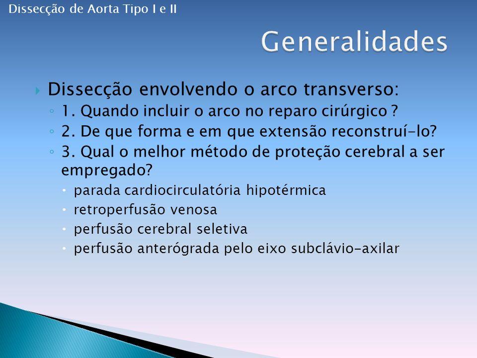 Generalidades Dissecção envolvendo o arco transverso: