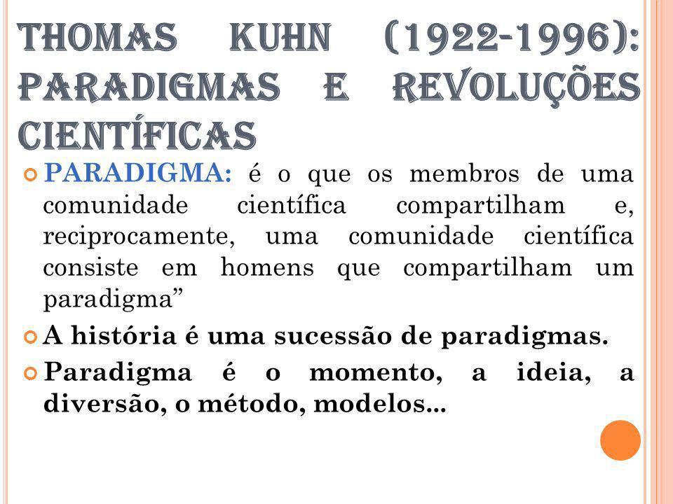 THOMAS KUHN (1922-1996): PARADIGMAS E REVOLUÇÕES CIENTÍFICAS