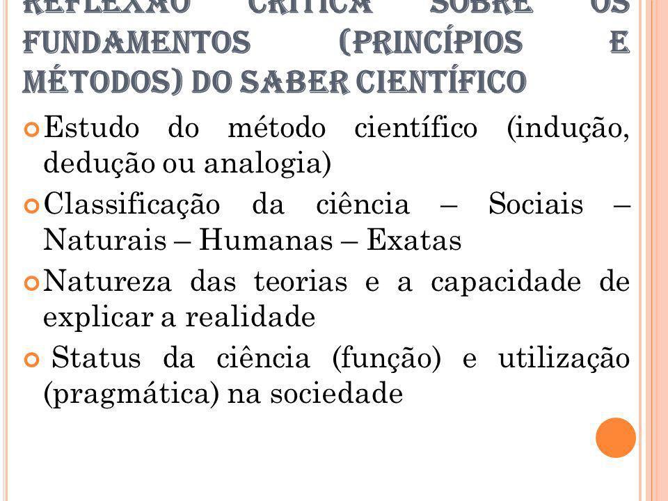 REFLEXÃO CRÍTICA SOBRE OS FUNDAMENTOS (PRINCÍPIOS E MÉTODOS) DO SABER CIENTÍFICO