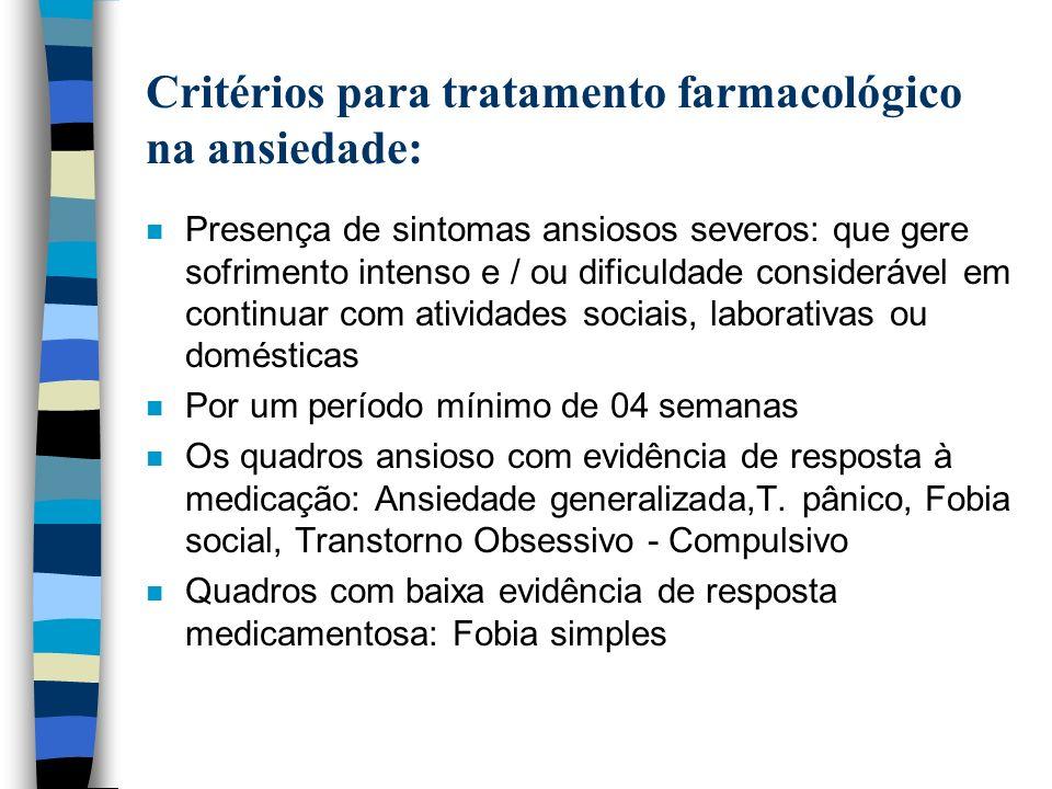 Critérios para tratamento farmacológico na ansiedade: