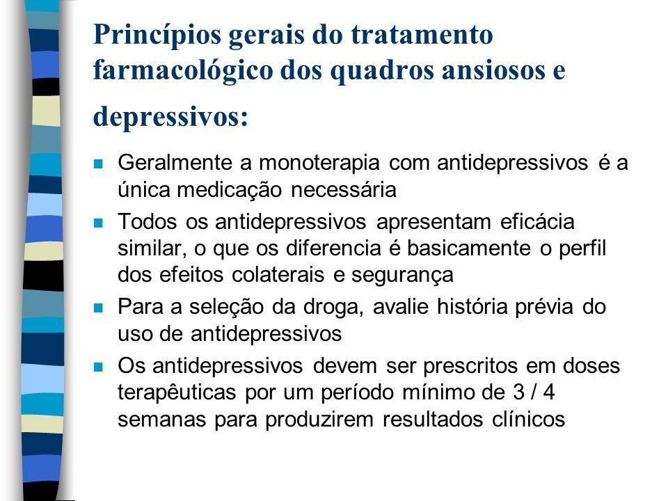 Princípios gerais do tratamento farmacológico dos quadros ansiosos e depressivos: