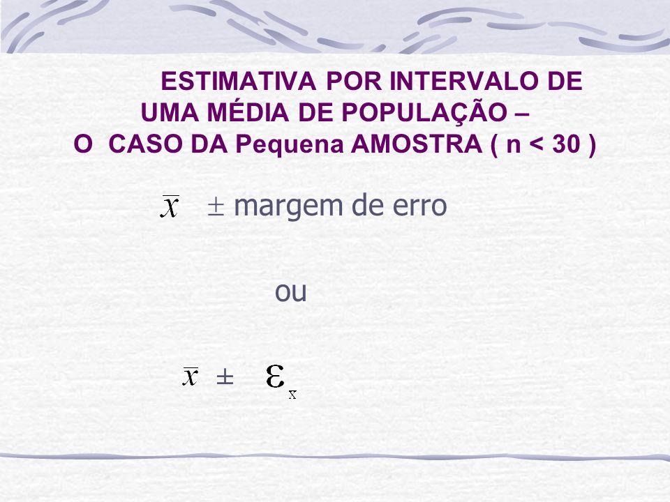 ESTIMATIVA POR INTERVALO DE UMA MÉDIA DE POPULAÇÃO – O CASO DA Pequena AMOSTRA ( n < 30 )