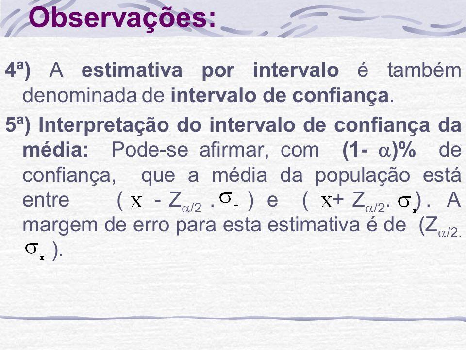 Observações: 4ª) A estimativa por intervalo é também denominada de intervalo de confiança.