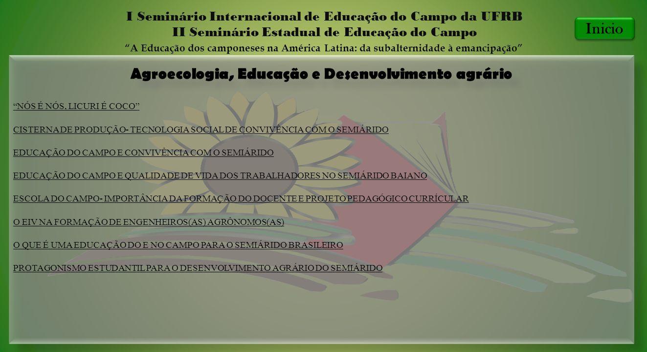 Agroecologia, Educação e Desenvolvimento agrário