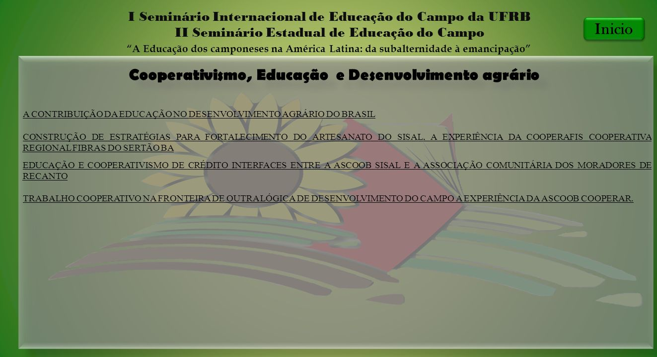 Cooperativismo, Educação e Desenvolvimento agrário