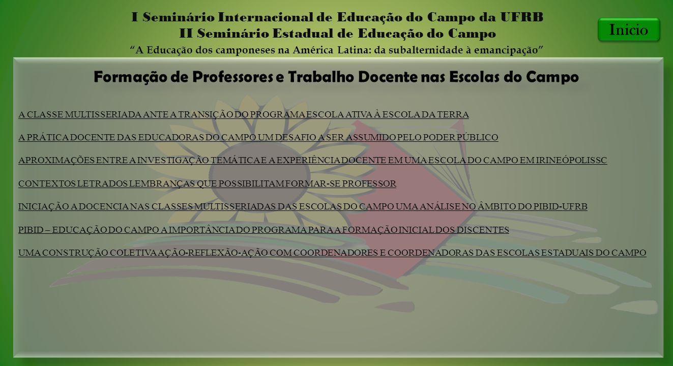 Formação de Professores e Trabalho Docente nas Escolas do Campo