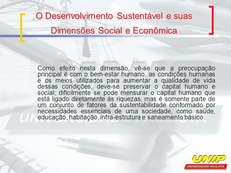 O Desenvolvimento Sustentável e suas Dimensões Social e Econômica