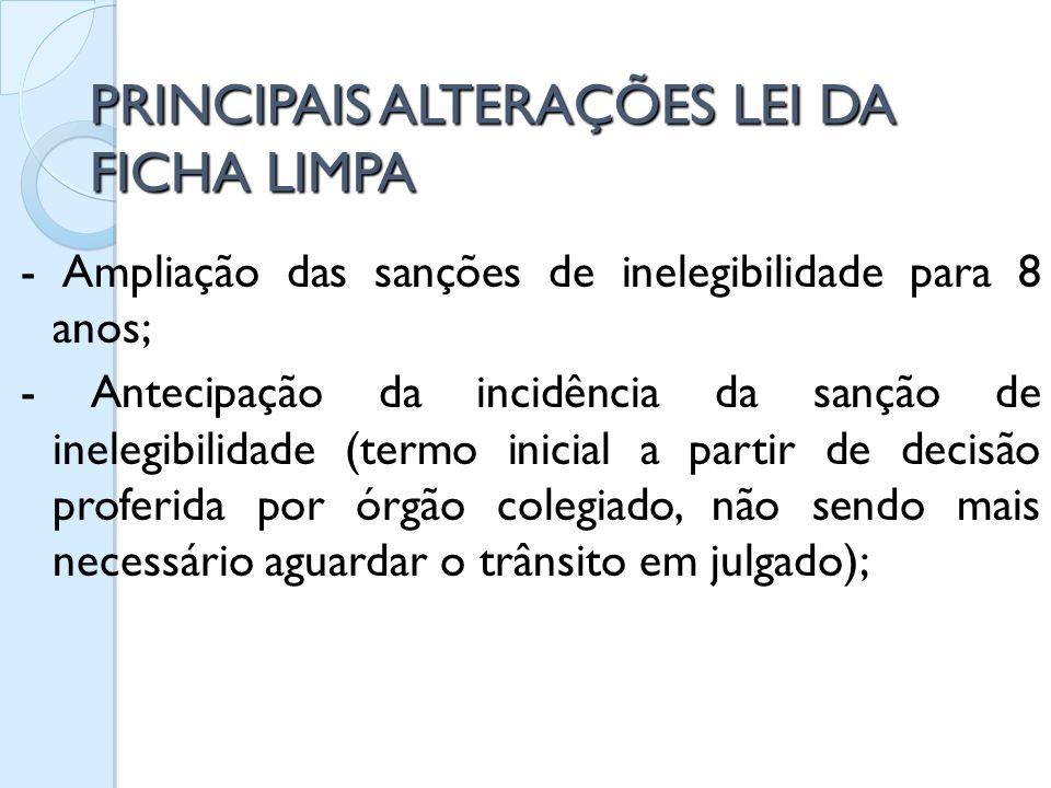 PRINCIPAIS ALTERAÇÕES LEI DA FICHA LIMPA
