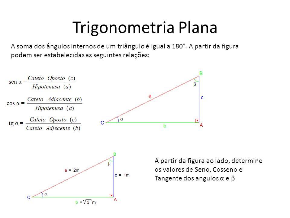 Trigonometria Plana A soma dos ângulos internos de um triângulo é igual a 180°. A partir da figura.