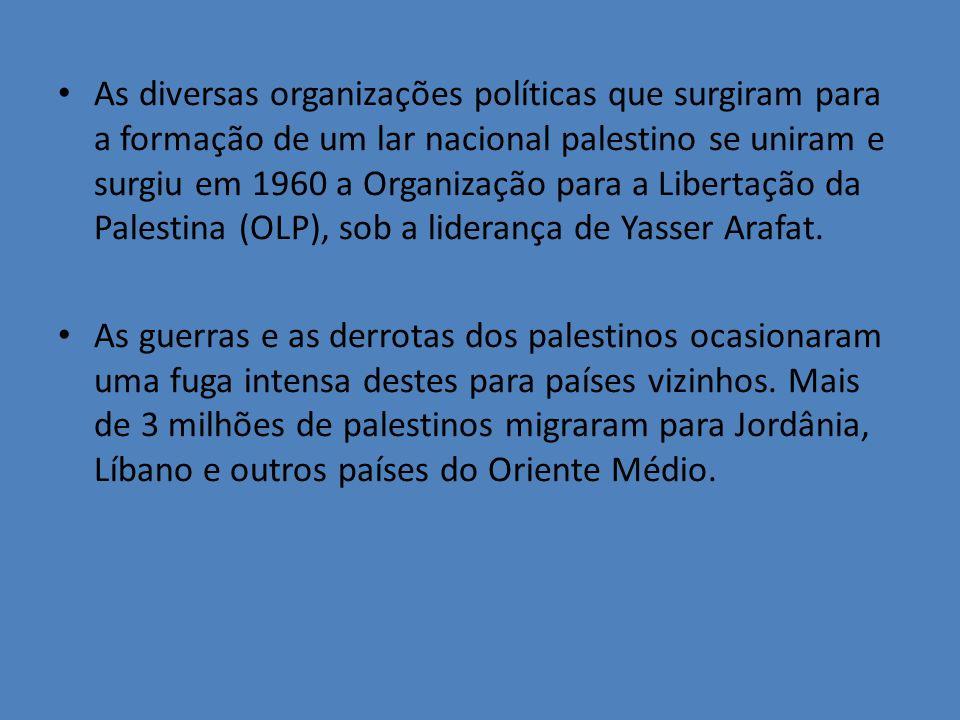 As diversas organizações políticas que surgiram para a formação de um lar nacional palestino se uniram e surgiu em 1960 a Organização para a Libertação da Palestina (OLP), sob a liderança de Yasser Arafat.